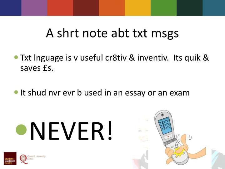 A shrt note abt txt msgs