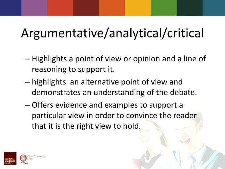 Argumentative/analytical/critical