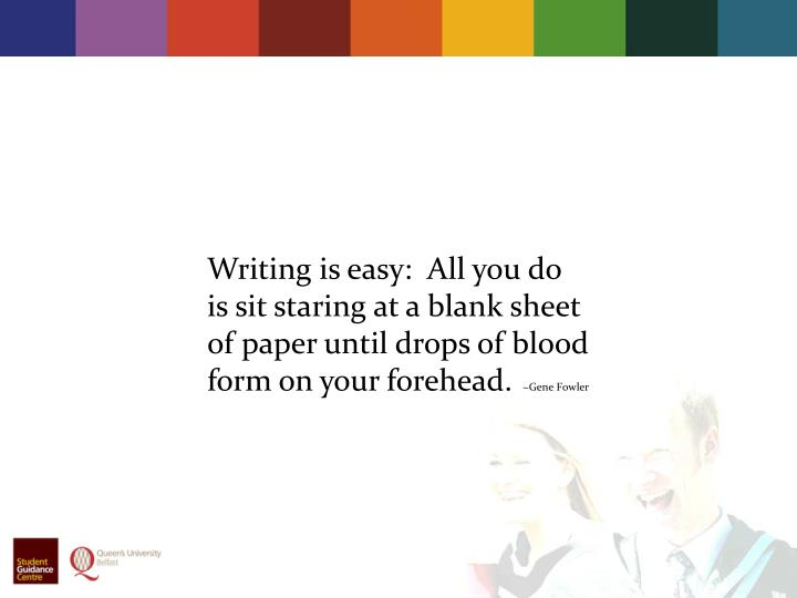 Writing is easy:  All you do is sit staring at a blank sheet of paper until drops of blood form on ...