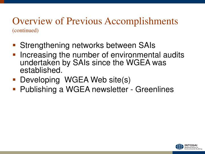 Overview of Previous Accomplishments
