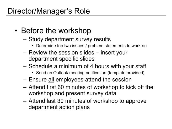 Director/Manager's Role
