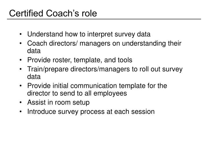 Certified Coach's role