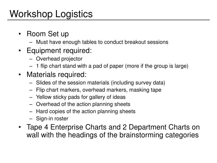 Workshop Logistics