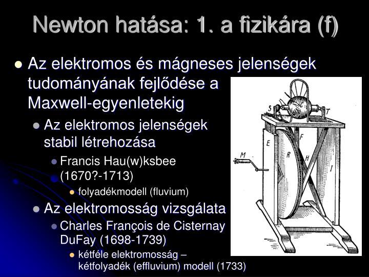 Newton hatása: 1. a fizikára (f)