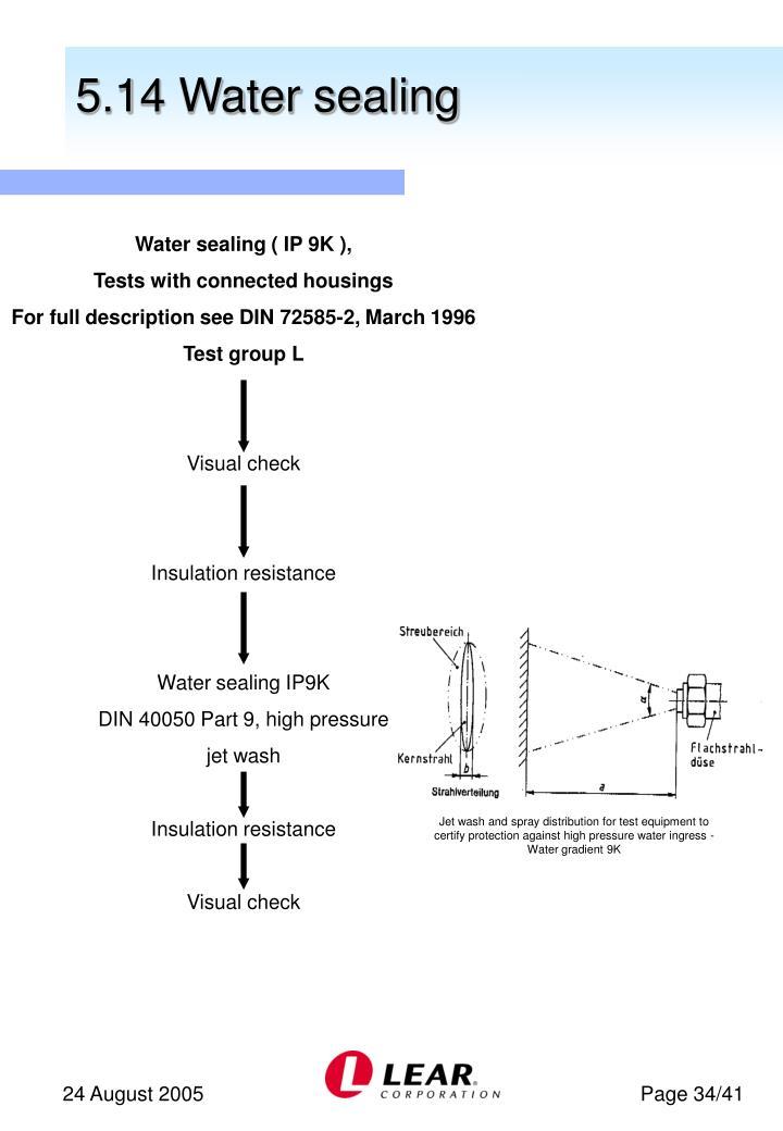5.14 Water sealing
