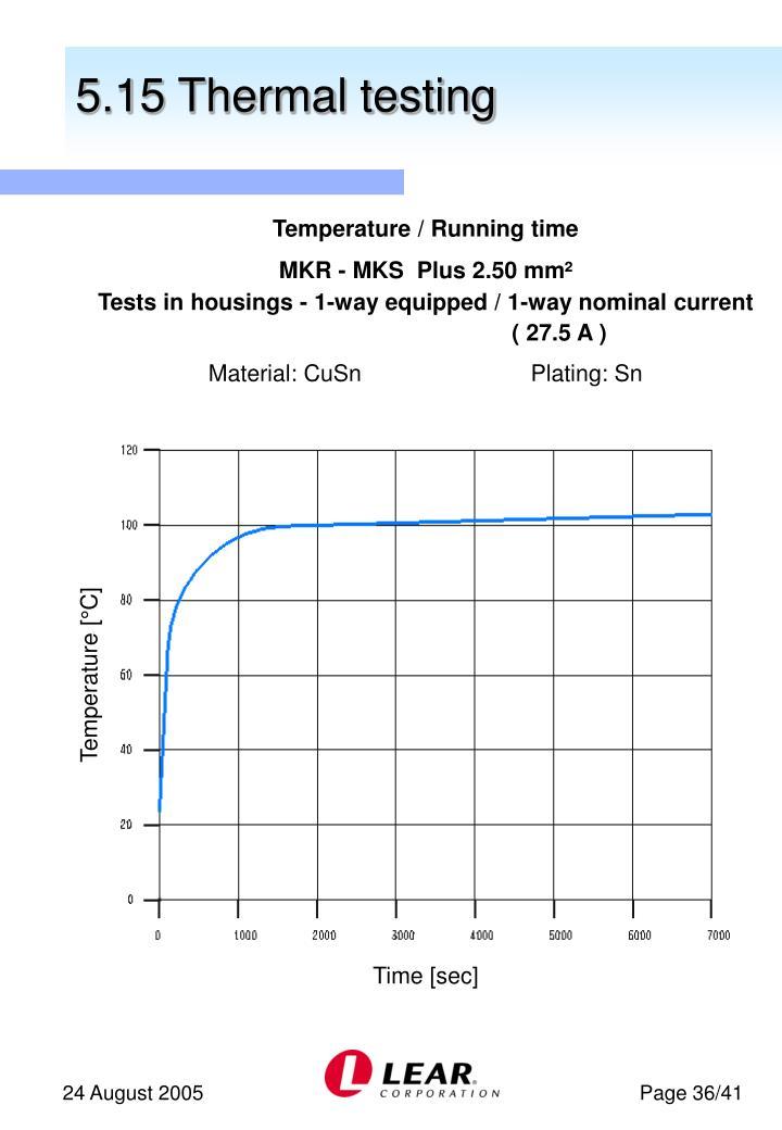 5.15 Thermal testing