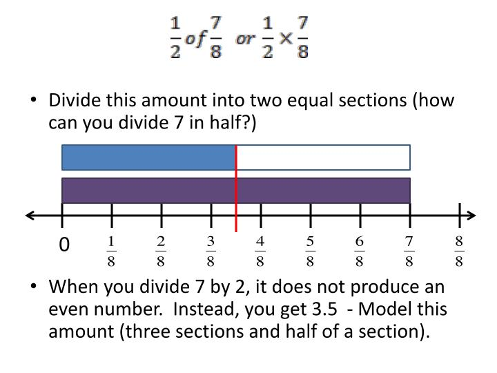 Divide this amount into two equal sections (how can you divide 7 in half?)