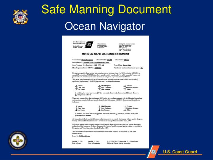 Safe Manning Document