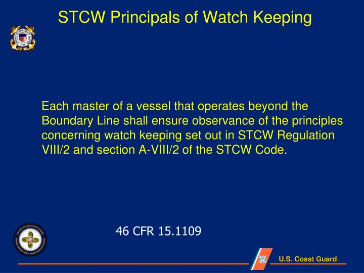 STCW Principals of Watch Keeping