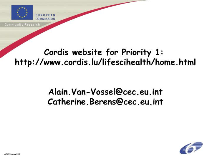 Cordis website for Priority 1: