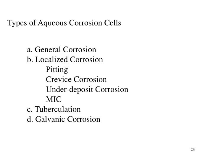 Types of Aqueous Corrosion Cells