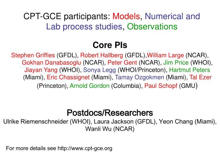 CPT-GCE participants: