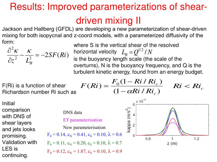 Results: Improved parameterizations of shear-driven mixing II