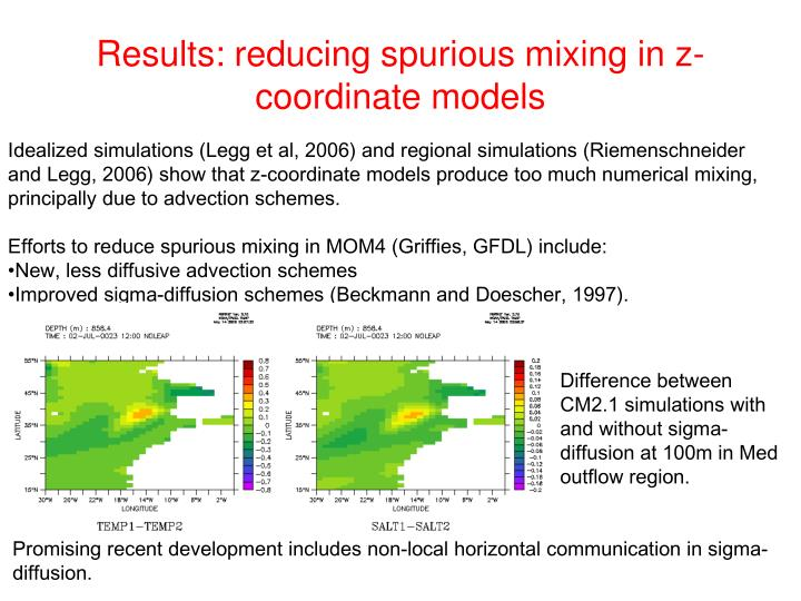Results: reducing spurious mixing in z-coordinate models