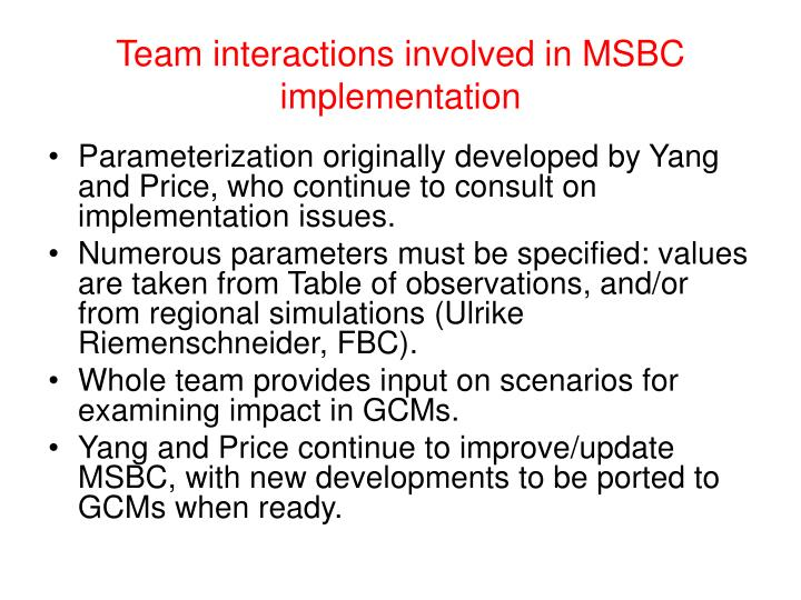 Team interactions involved in MSBC implementation