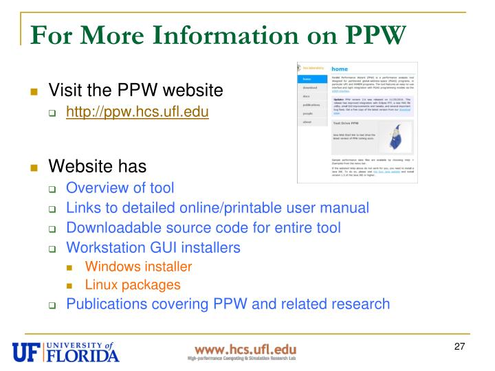 For More Information on PPW