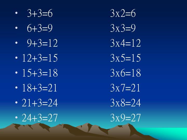 3+3=6           3x2=6