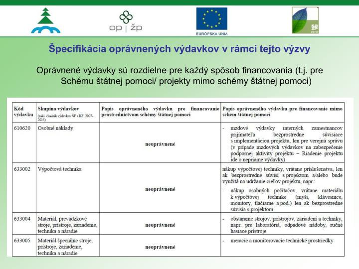 Špecifikácia oprávnených výdavkov v rámci tejto výzvy