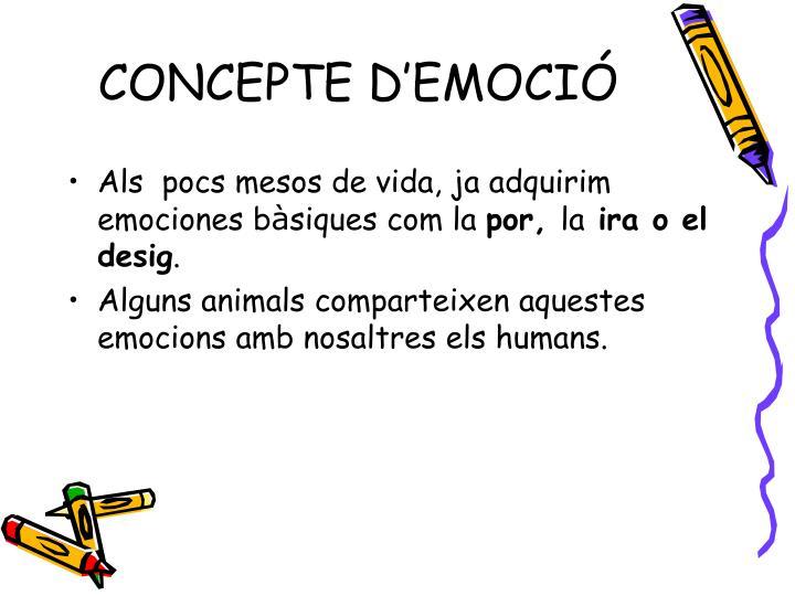 CONCEPTE D'EMOCIÓ