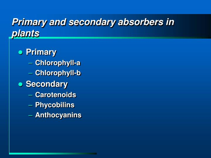 Primary and secondary absorbers in plants