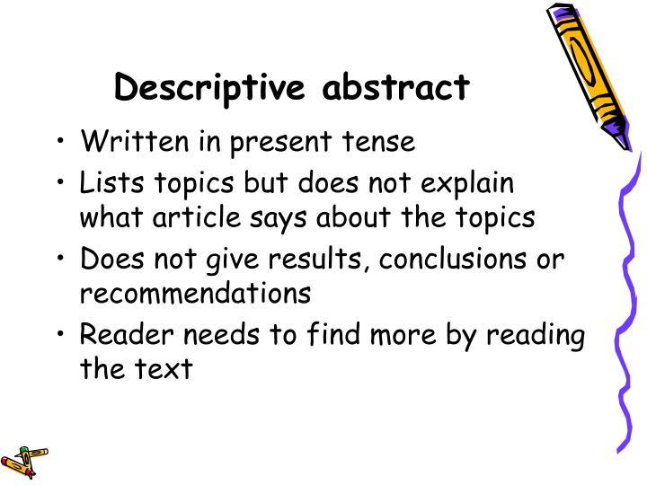 Descriptive abstract