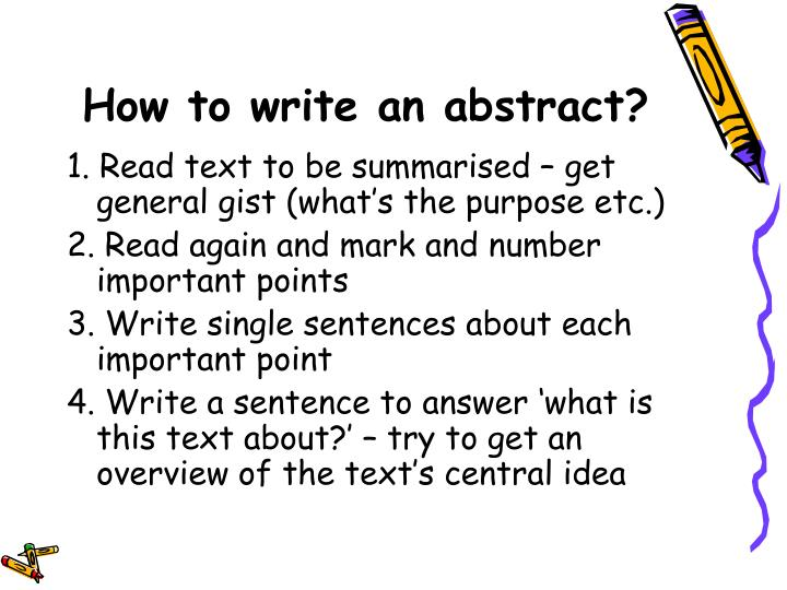 How to write an abstract?