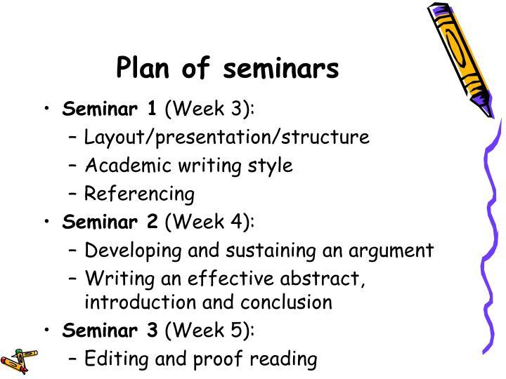 Plan of seminars
