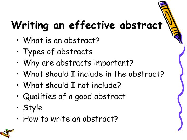 Writing an effective abstract
