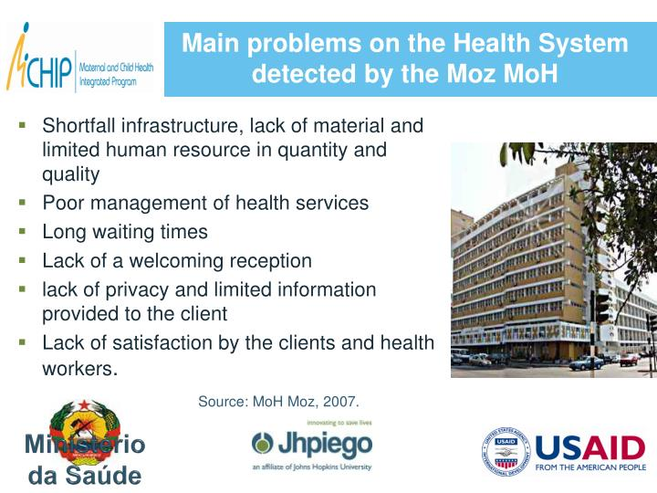 Main problems on the Health System detected by the Moz MoH