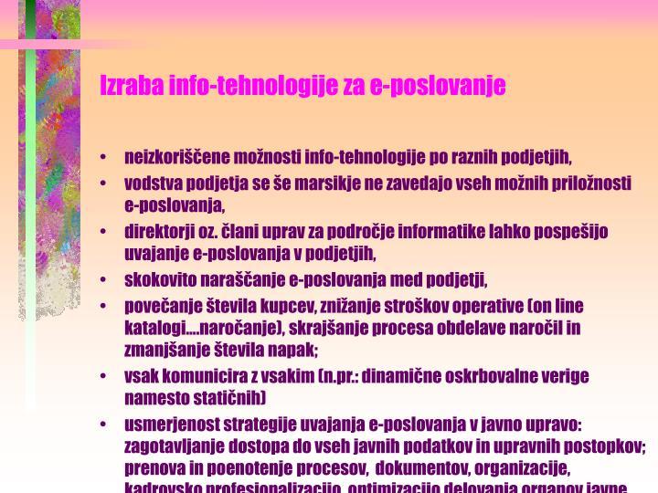 Izraba info-tehnologije za e-poslovanje