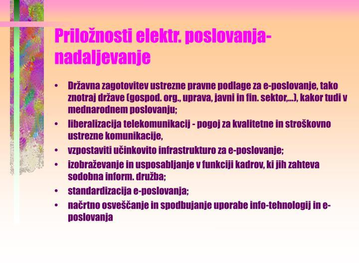 Priložnosti elektr. poslovanja-nadaljevanje
