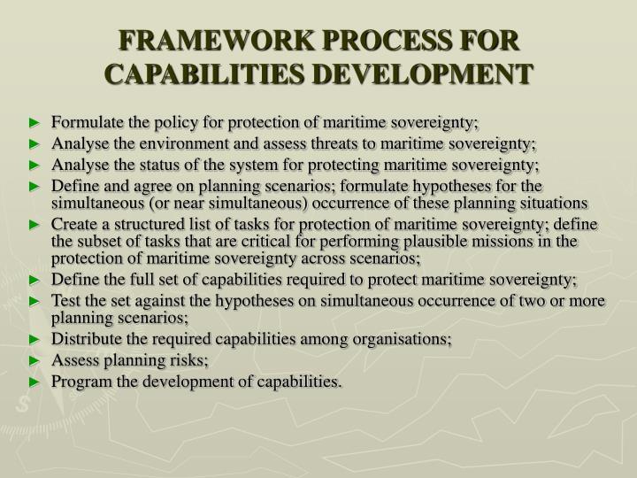 FRAMEWORK PROCESS FOR CAPABILITIES DEVELOPMENT