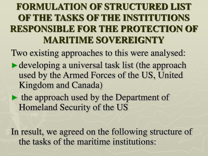 FORMULATION OF STRUCTURED LIST OF THE TASKS OF THE INSTITUTIONS RESPONSIBLE FOR THE PROTECTION OF MARITIME SOVEREIGNTY