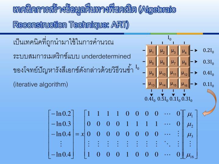 เทคนิคการสร้างข้อมูลคืนทางพีชคณิต (