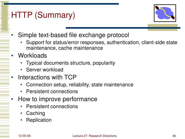 HTTP (Summary)