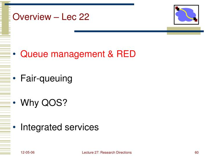 Overview – Lec 22