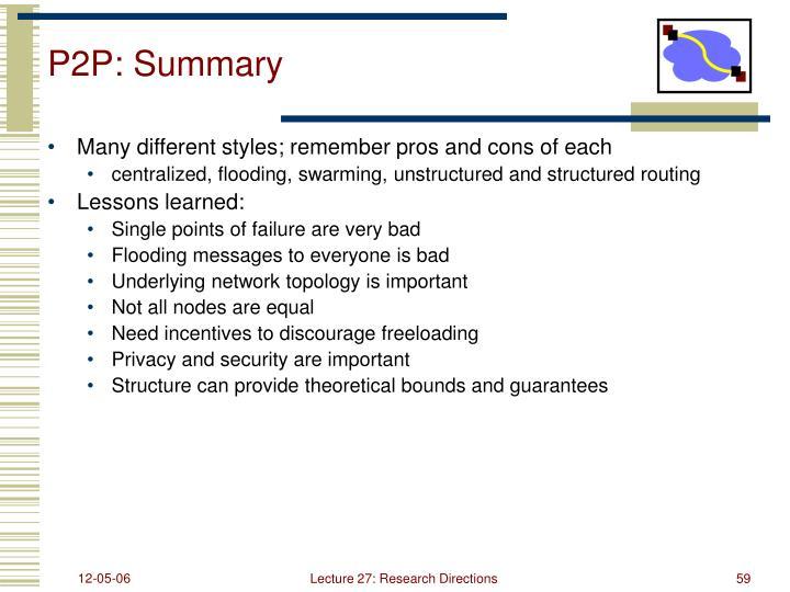 P2P: Summary