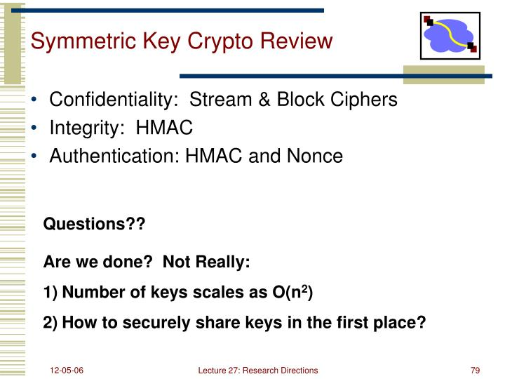 Symmetric Key Crypto Review