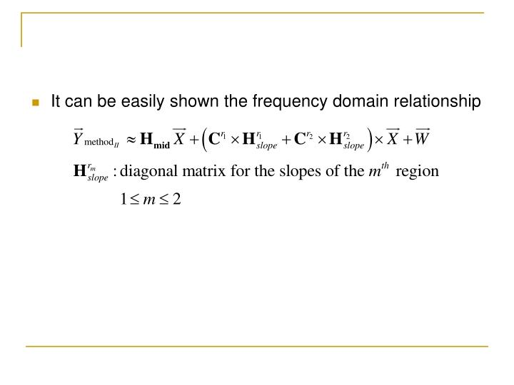 It can be easily shown the frequency domain relationship