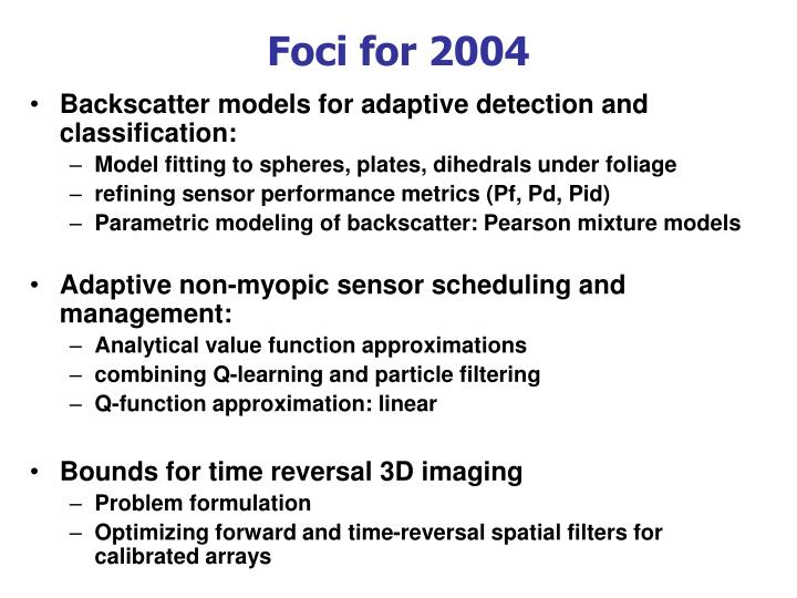 Foci for 2004