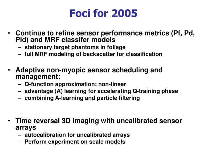 Foci for 2005