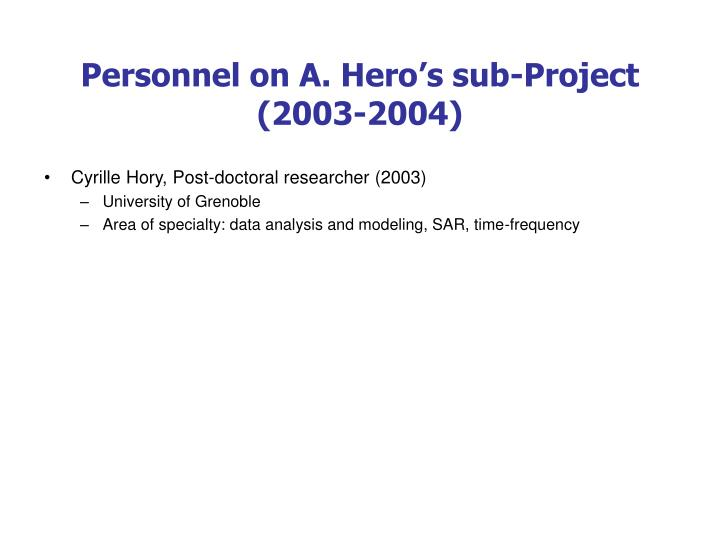 Personnel on A. Hero's sub-Project (2003-2004)