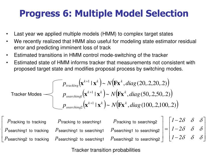 Progress 6: Multiple Model Selection