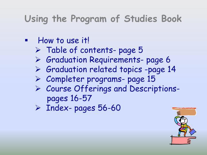 Using the Program of Studies Book