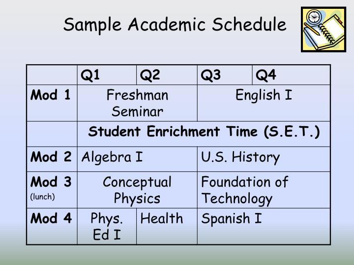 Sample Academic Schedule