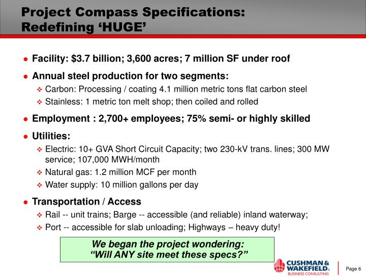 Project Compass Specifications: