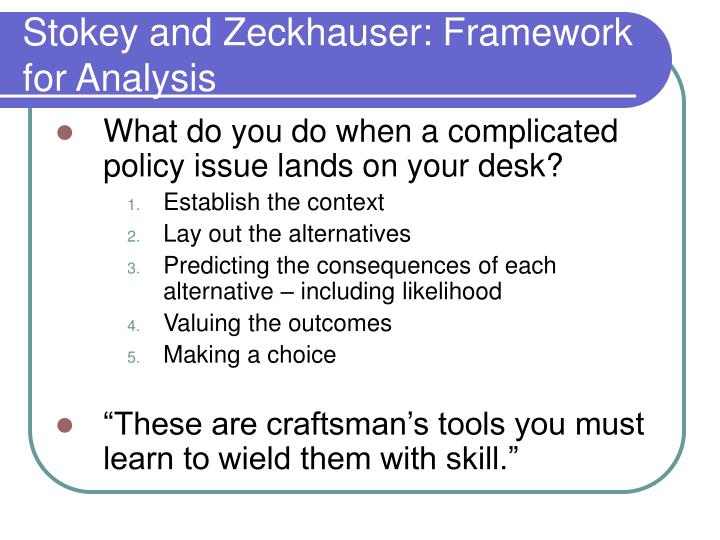 Stokey and Zeckhauser: Framework for Analysis