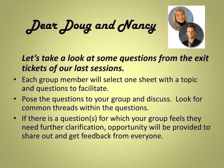 Dear Doug and Nancy