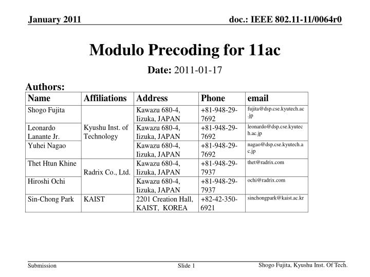 modulo precoding for 11ac