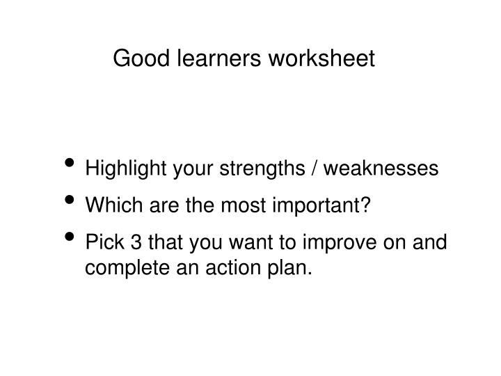 Good learners worksheet